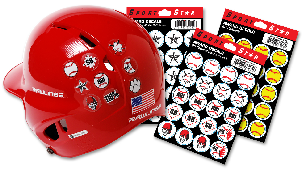 Football helmet baseball softballaward sticker sports decal Stars