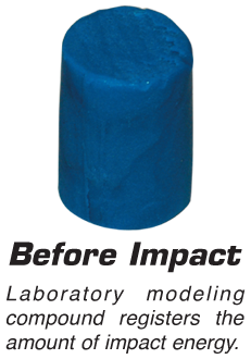 Before Impact -  Laboratory modeling compound registers the amount of impact energy